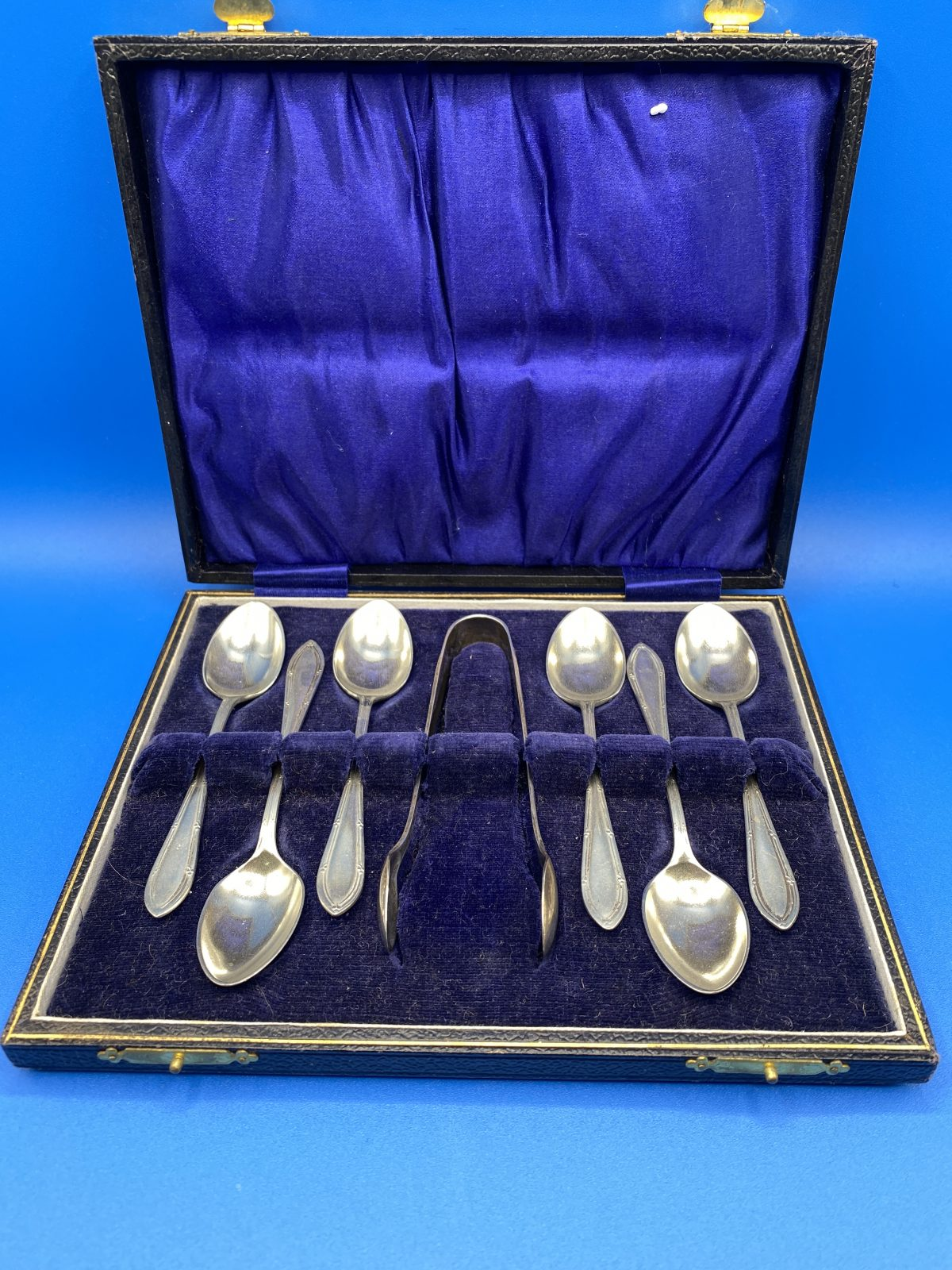 G3 - A Boxed Set of 6 Silver Plated Coffee Spoons and Tongs.  £38
