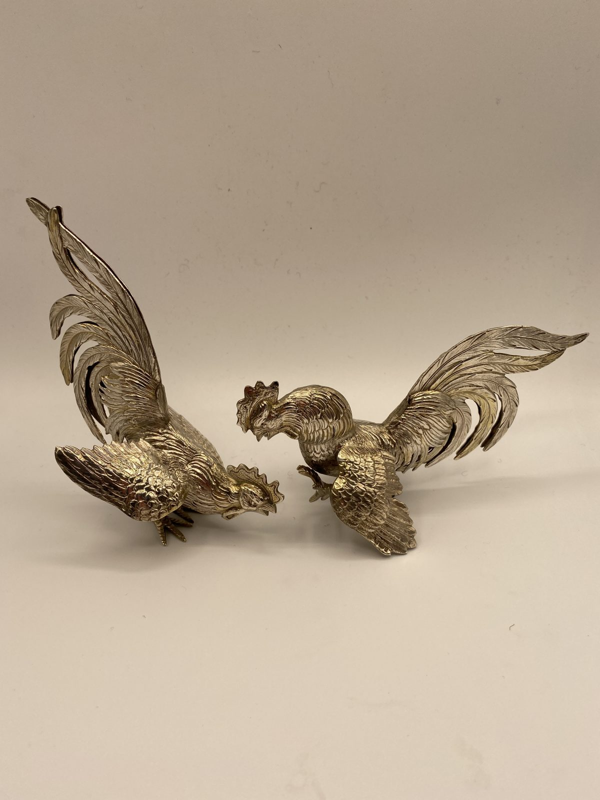 CAB 14 - A pair of Chinese Silver Fighting Cocks, London Import Marks for 1963.  £545