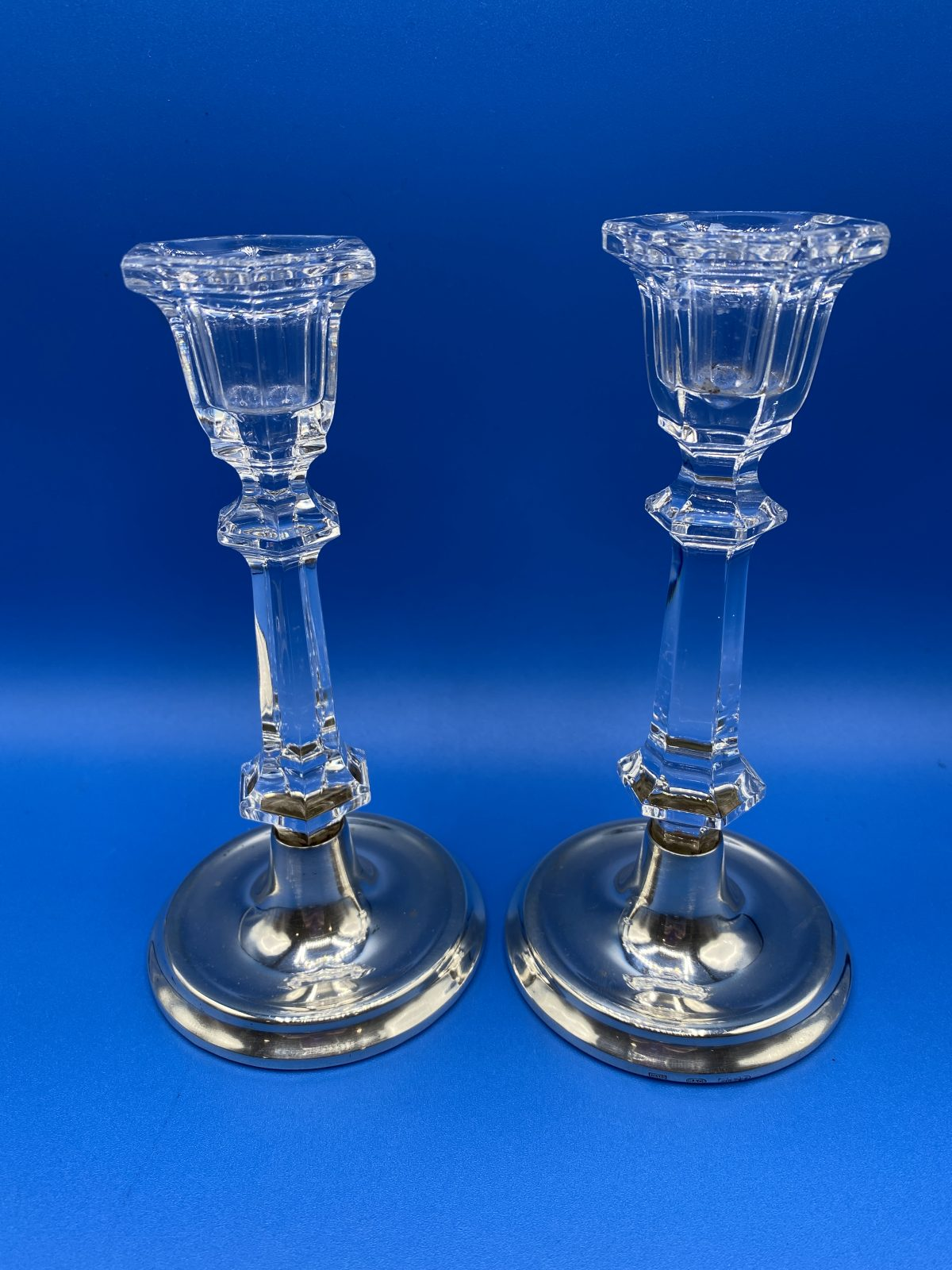 "CAB 22 - A Pair of Silver and Glass Candlesticks, Birmingham 1983, approx 6"" high.  £110"