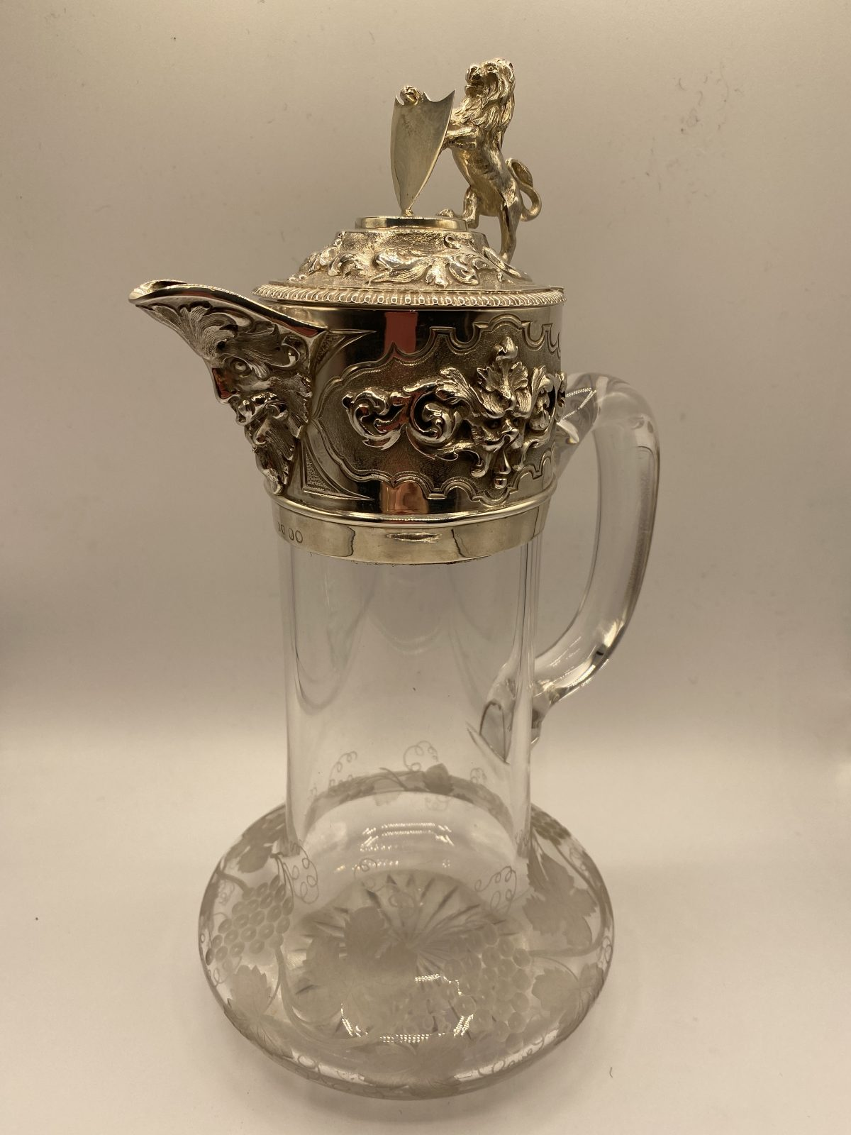CAB 14 - A Fine Victorian Claret Jug with Silver Mount, London 1863.  £1,175