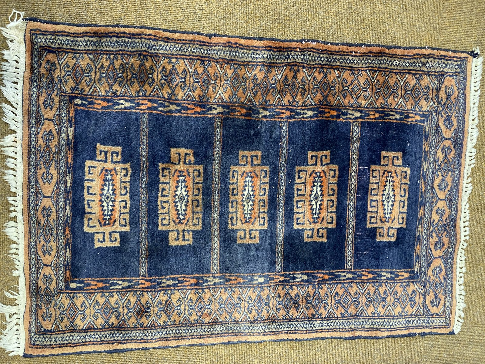 G1 - A Small Vintage Traditional Hand-Woven Rug from Pakistan, some wear to pile C 1950-1970, newly cleaned. 63cm x 91cm.  £95