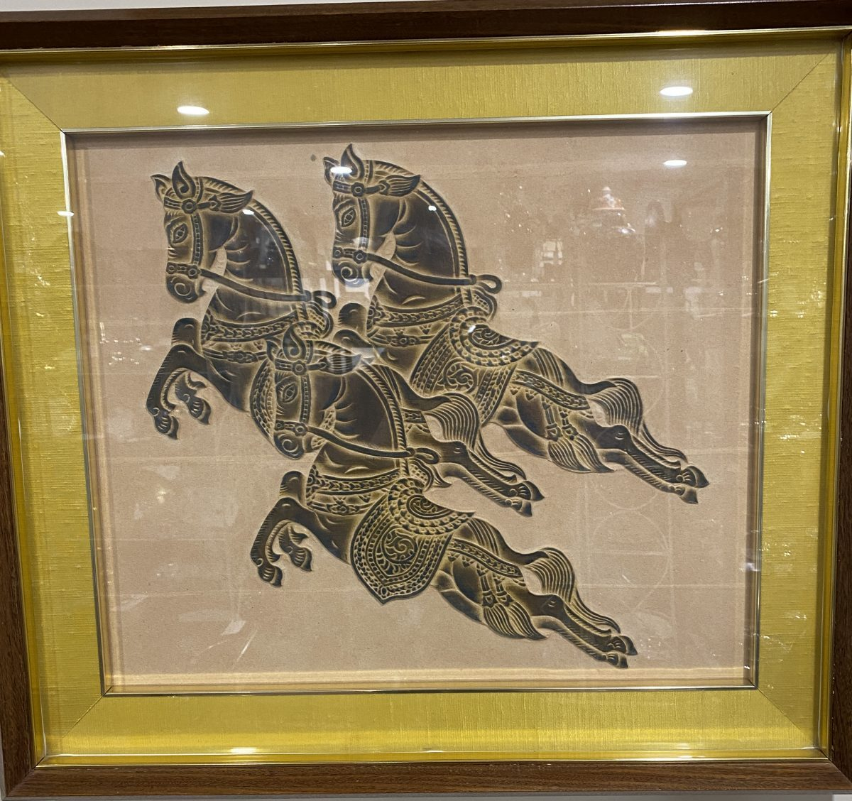 G4 - A nicely framed Thai Temple rubbing of 3 prancing horses.  £95