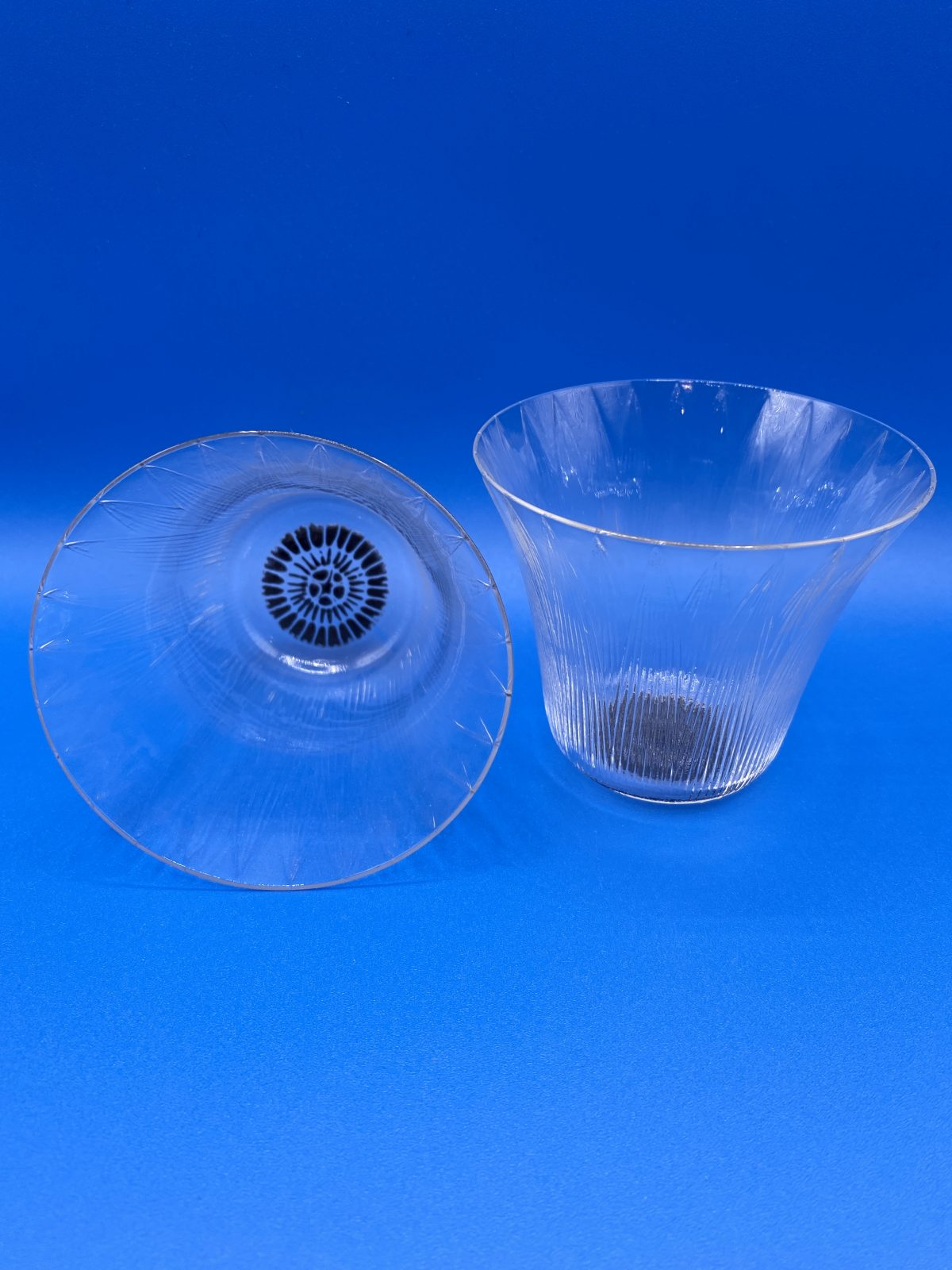 G1 - A Magnificent and Rare Set of 6 Rene lalique Lotus Pattern Tumblers with black enamel decoration, c.1922, not made after 1947. Marcilhac page 769, no.3406. All in perfect condition & fully signed to base.  £695