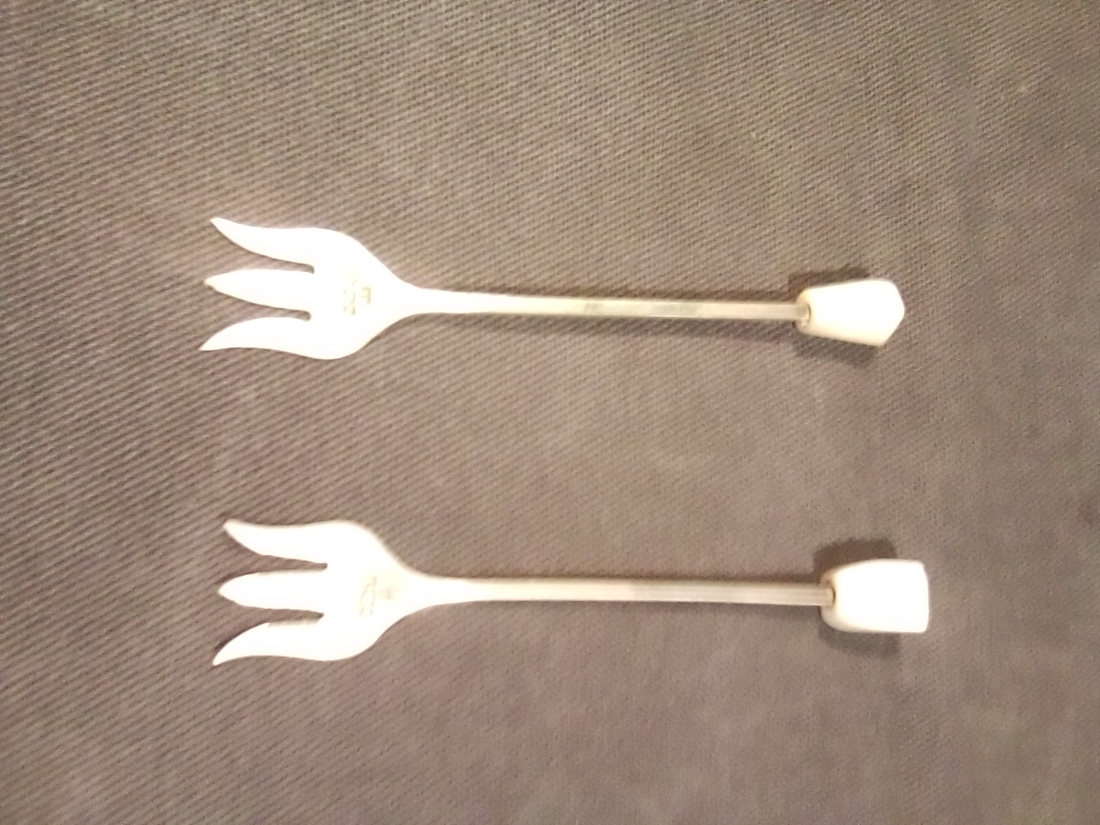 Silver Hors D Oevres Forks, Mother of Pearl Handles