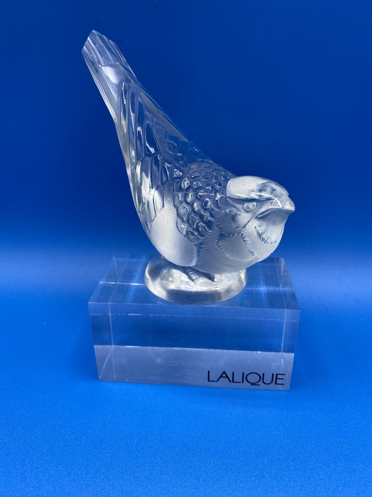 G1 - A very rare Rene Lalique Chardonneret Hardi (goldfinch) paperweight  with blue patina, created in 1931, not made after 1947. Marcilhac page 393, no.1210. Fully signed to base and in perfect condition.  £ 595