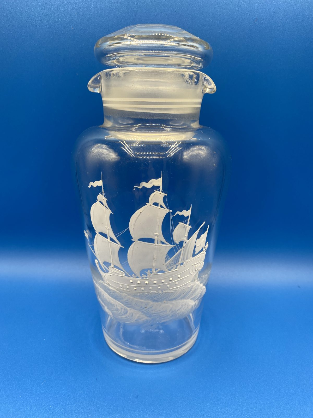 G3 - A Glass Cocktail Shaker with galleon motif.  £42